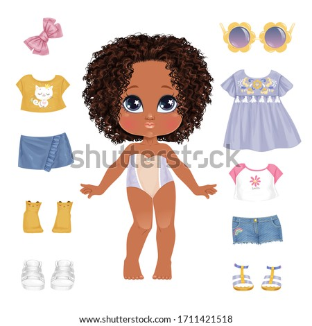 beautiful toddler girl with set