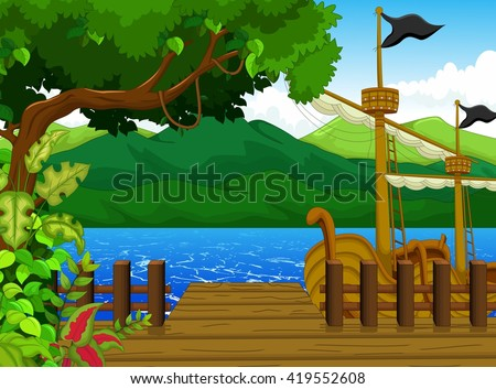 beautiful tree on dock cartoon