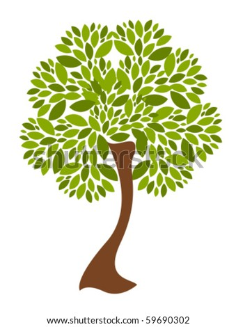 Beautiful tree with plenty of leaves over white. Vector illustration