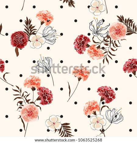 Beautiful trendy and softy blooming carnation flowers seamless pattern vector on pollka dots on summer light pink background for fashion fabric and all prints in hand drawn style.