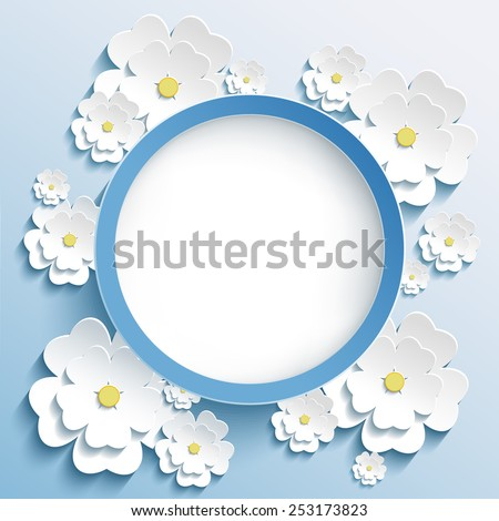 Beautiful trendy round frame with 3d white flowers sakura - japanese cherry tree. Greeting or invitation card with stylized blossoming sakura. Stylish modern blue background. Vector illustration