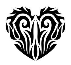 Beautiful tribal tattoo illustration with stylized black heart shape on the white background