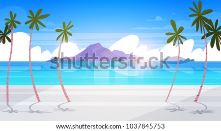 Beautiful Tropical Beach Landscape Summer Seaside With Palm Tree And Silhouette Mountains Exotic Paradise Poster Flat