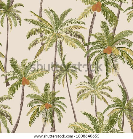 Beautiful Tropical Palm Hawaii seamless pattern, Vintage hawaii style, palm hand draw illustration , Palm Vector illustration On Beige Background Wallpaper