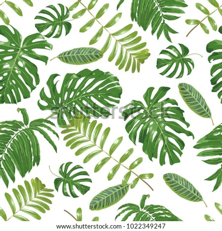 Beautiful tropical pattern with exotic foliage. Vector seamless background, colorful and bright
