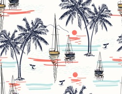 Beautiful tropical vector seamless pattern background with coconut palm trees, sailboat silhouettes, sun, mountaines, whale tails.  Isolated on white background. The Summer beach surfing illustration