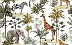 Beautiful tropical vintage hawaiian palm trees, zebra, giraffe, elephant, leopard. Hand drawn floral seamless pattern on the white background. Exotic jungle wallpaper.
