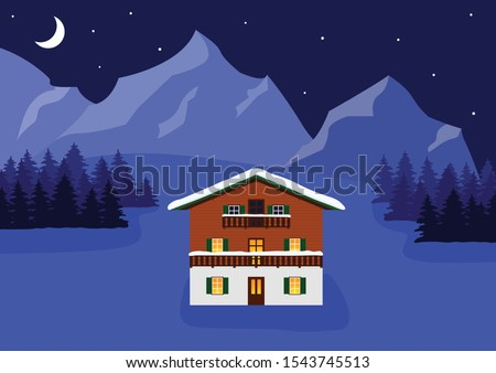 Beautiful typical traditional austrian or german wooden mountain house in winter alpine landscape. Alpine chalet covered with snow on winter night, stars and moonlight. Vector illustration.