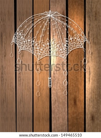 Beautiful umbrella with drops over wood background, Vector