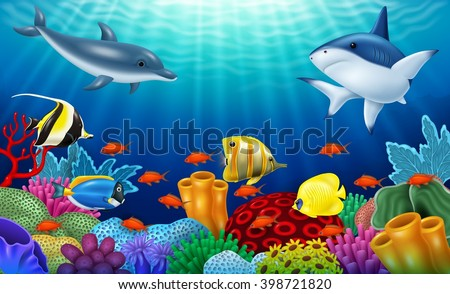 beautiful underwater world with