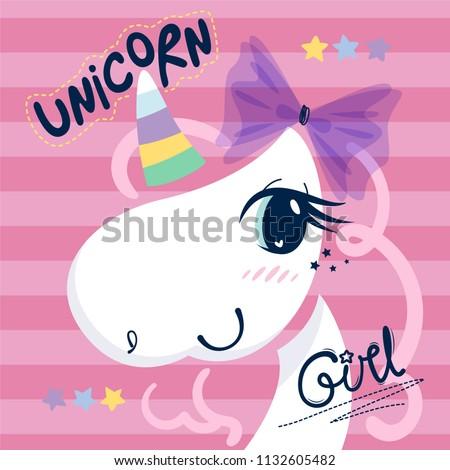 Beautiful unicorn girl head wearing ribbon on her head on striped background illustration vector.