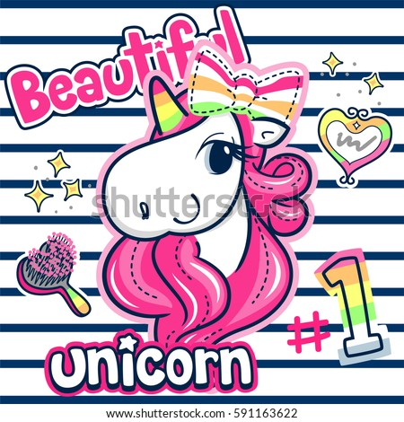 Beautiful unicorn girl with pink hair wearing ribbon on her head on striped background illustration vector.