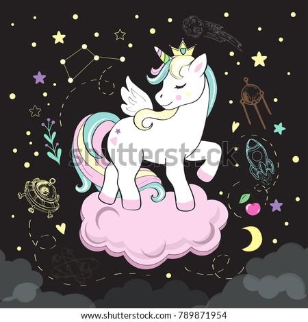 beautiful unicorn pop art and