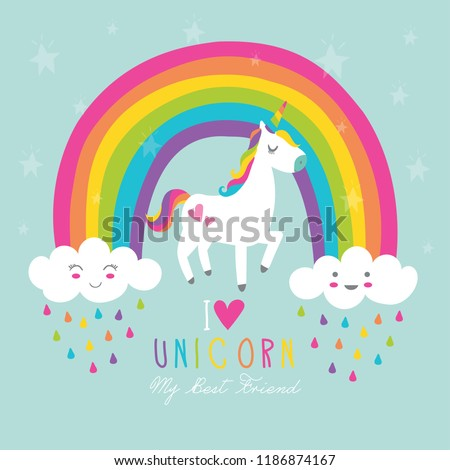 Beautiful unicorn vector.Cute clouds and rainbow illustration.Print for t-shirt or sticker. Romantic hand drawing illustration for children.Baby shower card.