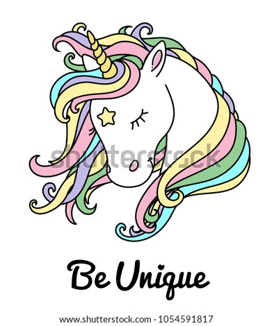 beautiful unicorn vector head