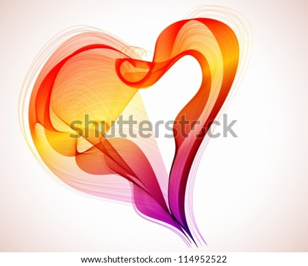 Beautiful Valentine's background with abstract color heart, illustration, vector