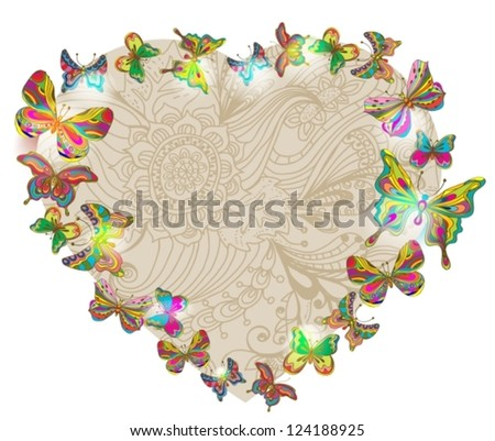 Beautiful Valentine's background with heart and butterfly, illustration, vector
