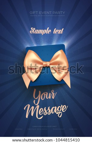 Beautiful Valentine's Day greeting flyer or poster. Top view on blue gift box and golden bow. Vector illustration