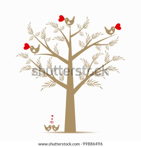 Beautiful valentine tree isolated on white background