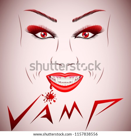 Stock Photo Beautiful vampire face. Vampire Halloween Woman portrait. Beauty Sexy Vampire Girl with dripping blood on her mouth. Vampire makeup Fashion Art design.  Halloween make up. Vector Illustration
