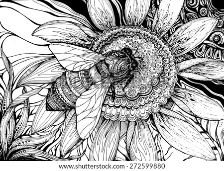 Beautiful vector background with graphic bee on flower with a lot of details