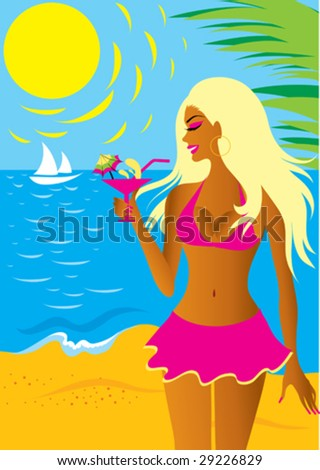 beautiful vector blond girl in