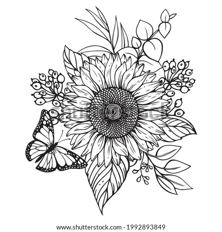 Beautiful vector bouquet with a butterfly of sunflowers sketch style.