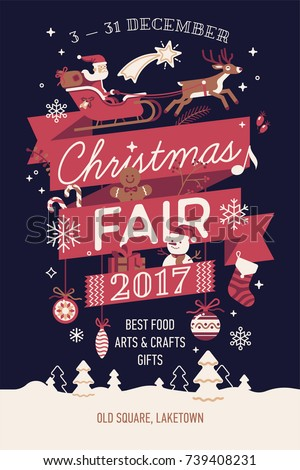 Beautiful vector Christmas Fair poster or banner template with Santa Claus on sleigh and other traditional winter holiday season decorations