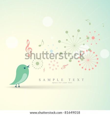 Stock Photo beautiful vector cute bird singing