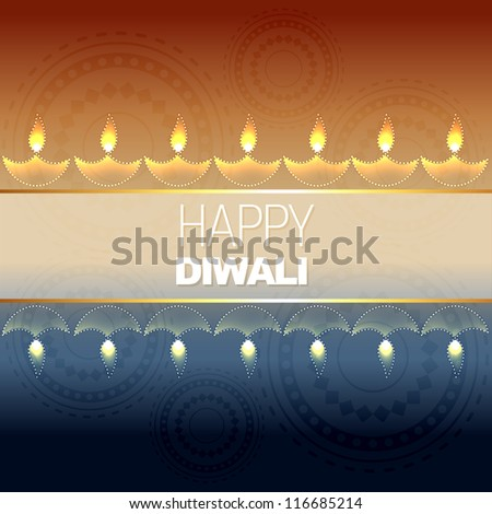 beautiful vector diwali background design - stock vector