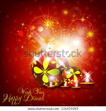 Beautiful vector Diwali card design in shiny glowing red color background.
