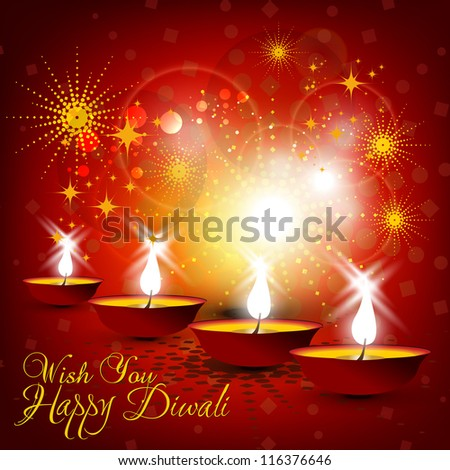 Beautiful vector Diwali card design in shiny glowing red color background with stylish text.