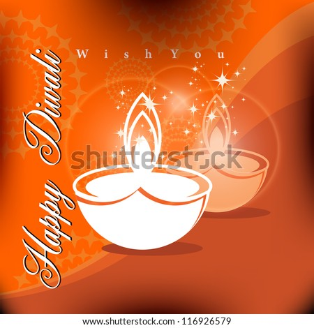 Beautiful vector Diwali Di ya in shiny glowing  color background with stylish text. - stock vector