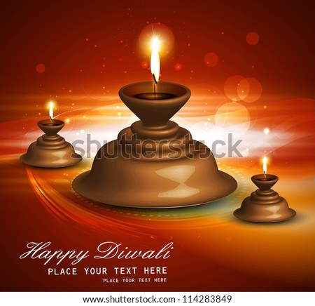 Beautiful vector diwali diya bright colorful red background