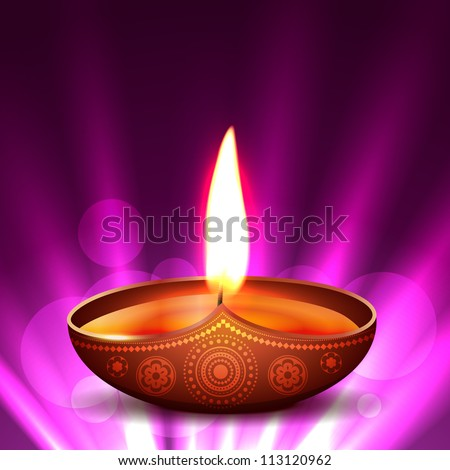 beautiful vector diwali diya placed on glowing background