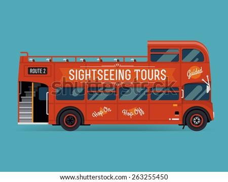 Beautiful vector double decker red sightseeing city tour bus, flat design. Touristic city visiting vehicle retro bus with open top, side view isolated