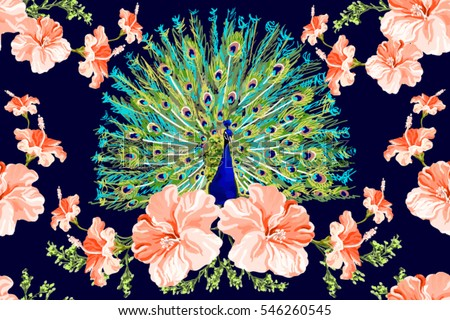 Beautiful Vector Floral Illustration Background With Peacock Exotic Spring Flowers Boho Style Isolated