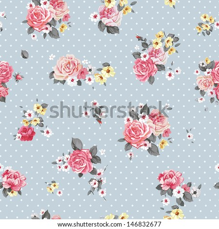 Beautiful Vector floral seamless pattern with blooming flowers Elegance wallpaper with of pink roses