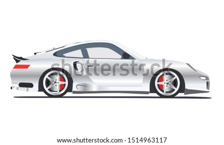 beautiful vector gray sports car - Porsche 911 on a white background