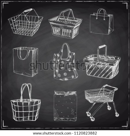 Beautiful vector hand drawn shopping cart, bag and basket set Illustrations. Detailed retro style images. Vintage sketch element for labels, packaging and cards design. Modern chalkboard background.