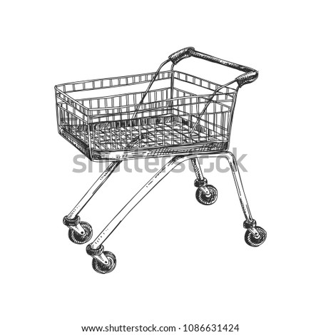 Beautiful vector hand drawn shopping cart Illustration. Detailed retro style image. Vintage sketch element for labels, packaging and cards design. Modern background.
