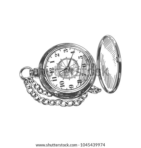 Beautiful vector hand drawn vintage pocket watch Illustration. Detailed retro style image. Sketch element for labels and cards design. Foto d'archivio ©