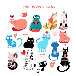 Beautiful vector illustration of a set of cats in love with heart