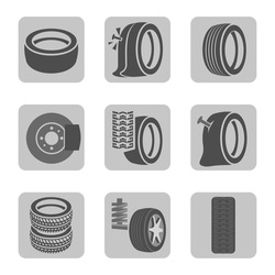 Beautiful vector illustration of tire shop images useful for icon and logotype design on a light background. Realistic graphic style. Transportation automotive concept. Digital pictogram collection