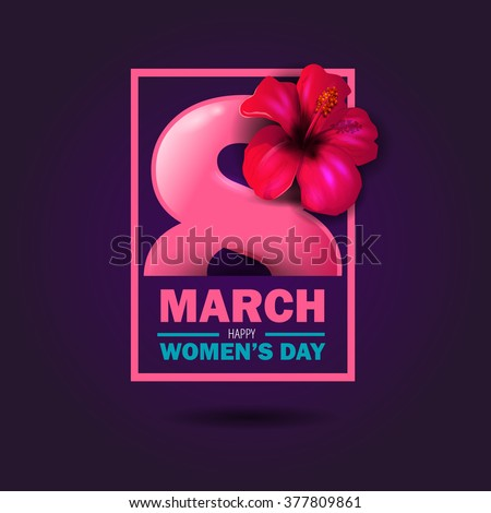 beautiful vector illustration on a theme 8 March, International Women's Day, spring, flowers