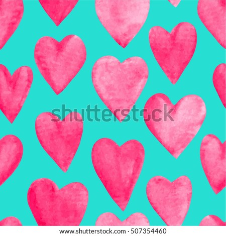 Beautiful Vector illustration Seamless pattern with red watercolor hearts. Background romantic design. for greeting cards and invitations of the wedding, birthday, Valentine's Day, mother's day