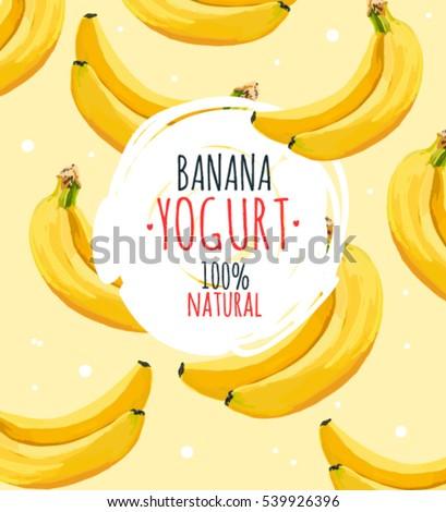 Beautiful vector illustration with banana and milk splashes. Yogurt logo on the yellow banana background.
