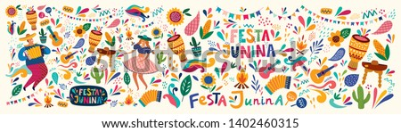 Beautiful vector illustration with design  for Brazil holiday Festa Junina. Vector template with traditional Brazil symbols dancing people, drums,accordion,  corn, Brazil guitar, flowers