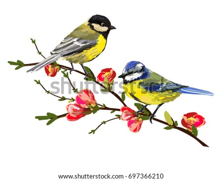 Beautiful vector illustration with hand drawn birds, japanese flowers, tree, spring wallpaper, branches. Perfect for wallpapers, web page backgrounds, surface textures, textile.