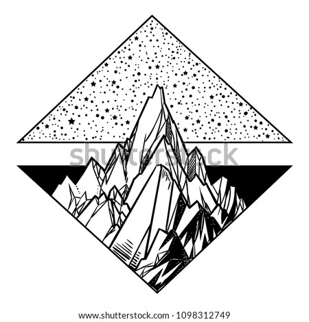 Beautiful vector illustration with nature landscape - mountains and stars. Tattoo art. Infinite space, meditation symbols, travel, tourism.